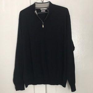 Peter Millar Men's 1/4 Zip Navy Blue Sweater - XL